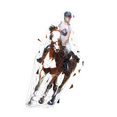 Horse riding, dressage isolated vector low polygonal illustration. Show jumping, equesterian sports