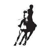 Horse riding, dressage isolated vector silhouette. Show jumping, equestrian sports