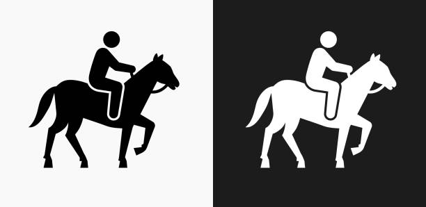 horse riding icon on black and white vector backgrounds - clip art of a black and white barn stock illustrations, clip art, cartoons, & icons