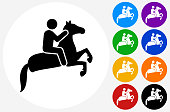 Horse Riding Icon on Flat Color Circle Buttons. This 100% royalty free vector illustration features the main icon pictured in black inside a white circle. The alternative color options in blue, green, yellow, red, purple, indigo, orange and black are on the right of the icon and are arranged in two vertical columns.