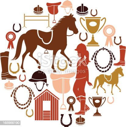 A set of horse riding related icons. Click below for more sports and pastimes,animals and kids images.