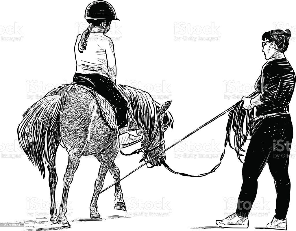 horse riding lesson vector art illustration