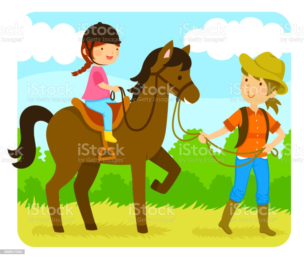 Horse Riding Lesson Stock Illustration Download Image Now Istock