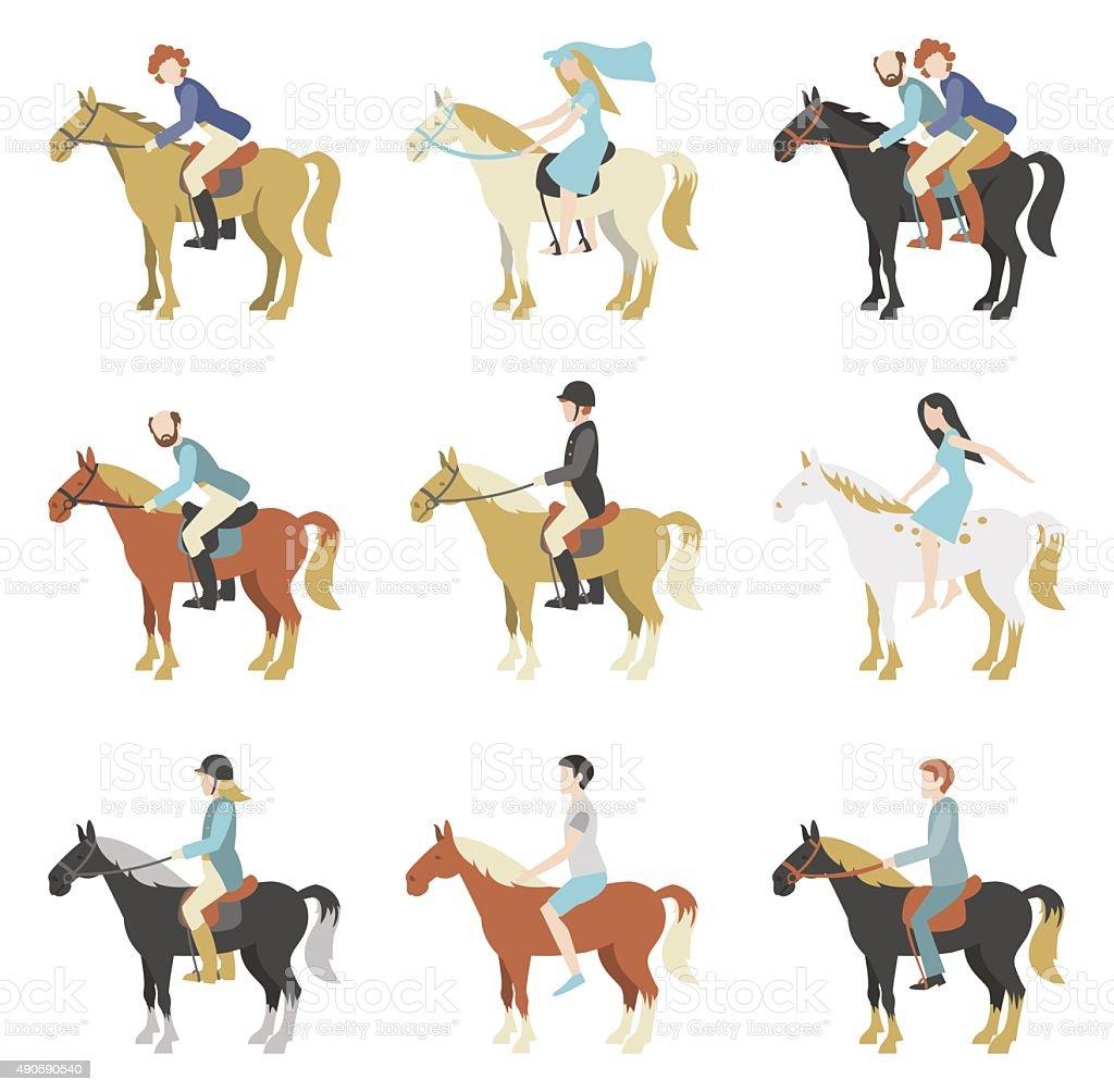 Horse riding lessons vector art illustration
