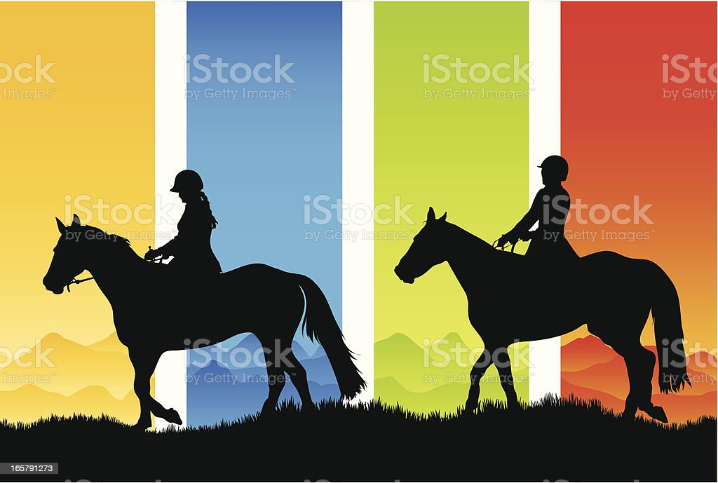 Horse riding silhouettes in the country vector art illustration