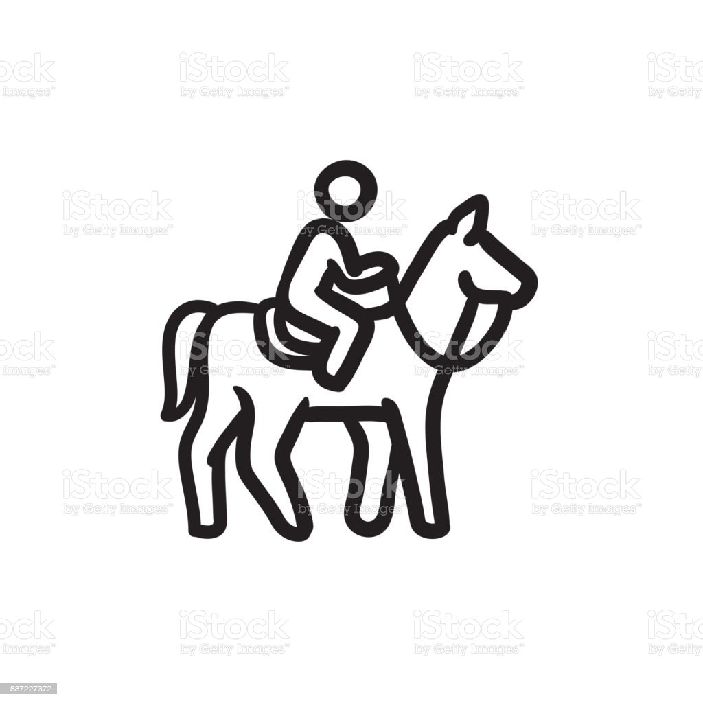 Horse Riding Sketch Icon Stock Illustration Download Image Now Istock