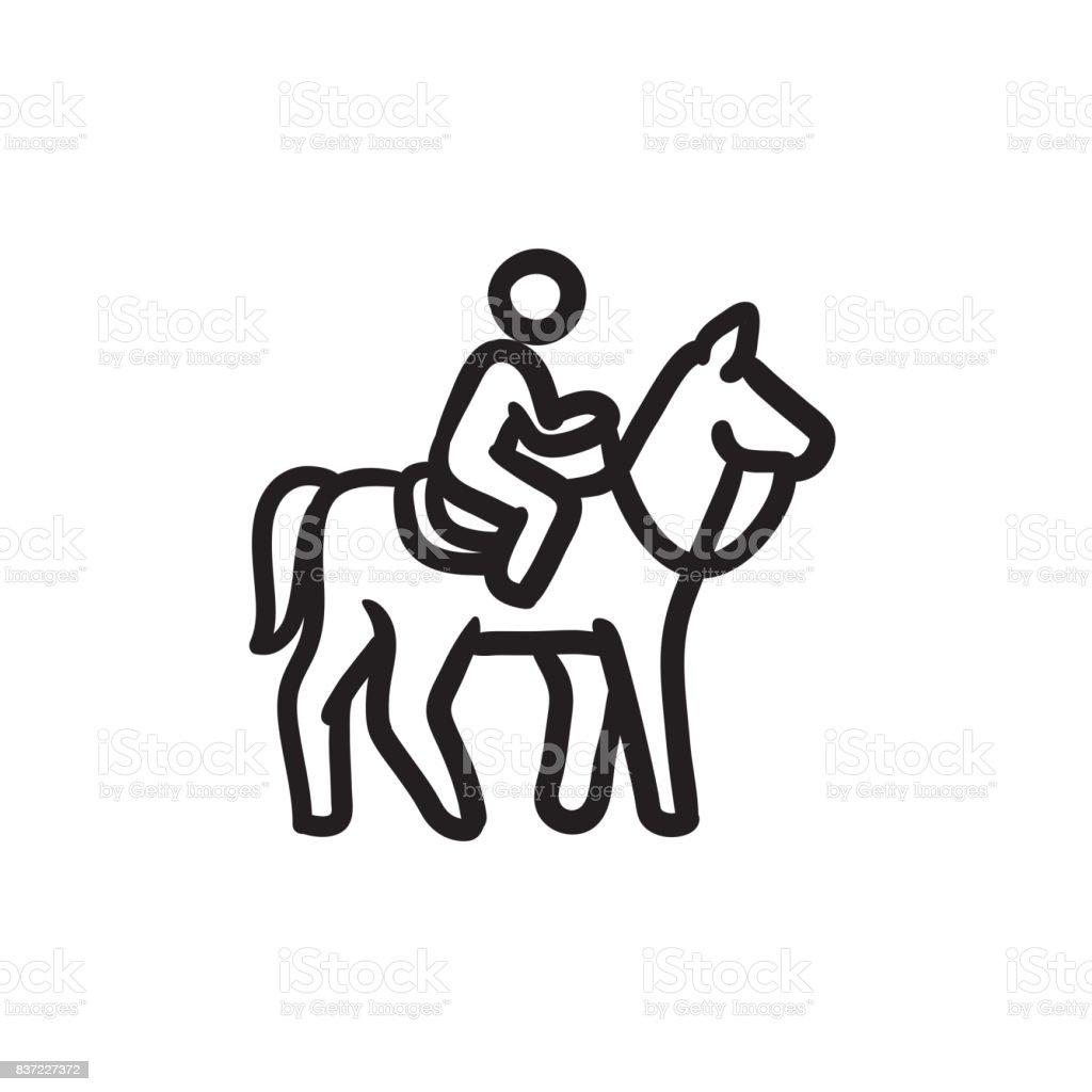 Horse riding sketch icon vector art illustration