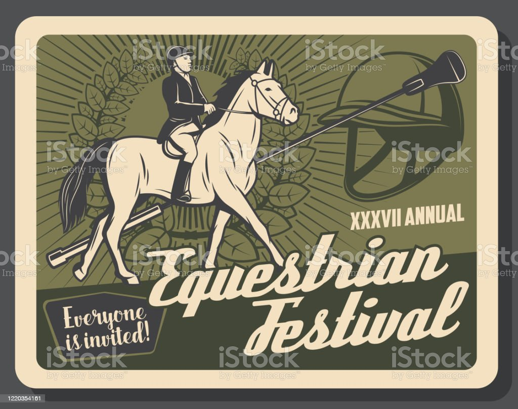 Horse Riding Sport Retro Banner With Equestrian Stock Illustration Download Image Now Istock