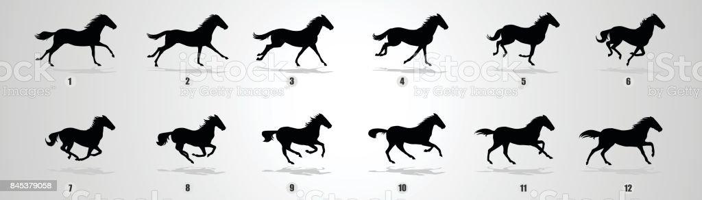 Horse run cycle silhouette vector art illustration