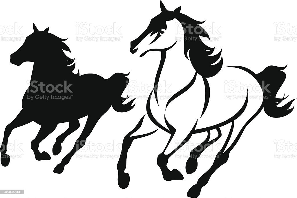 horse run vector art illustration