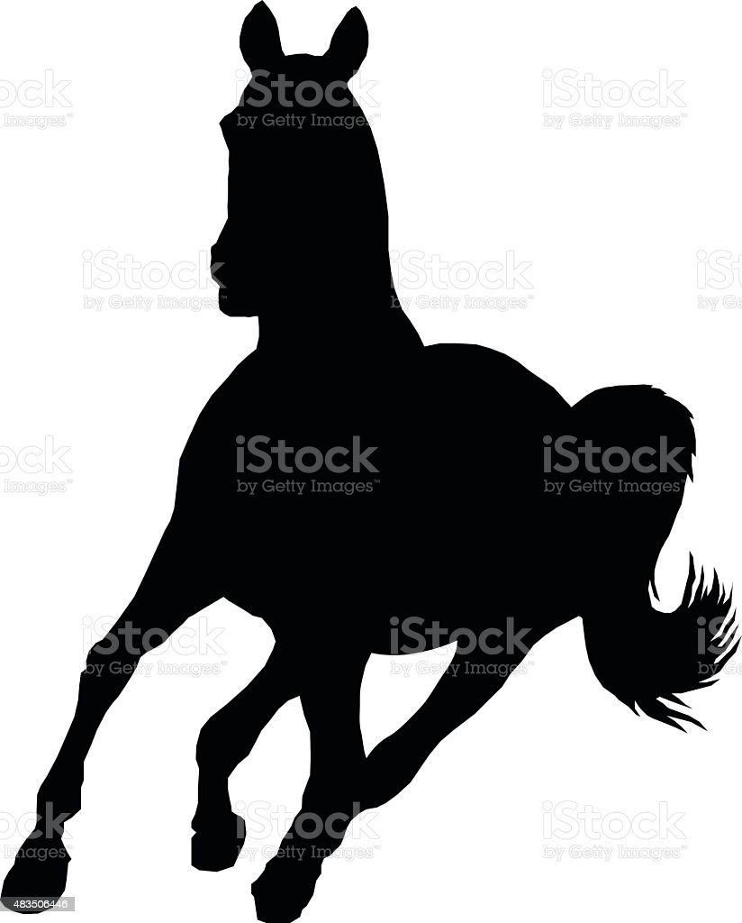 Horse running vector art illustration