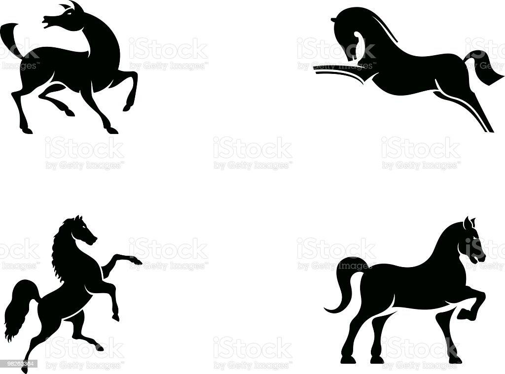 Horse Set 3 vector art illustration