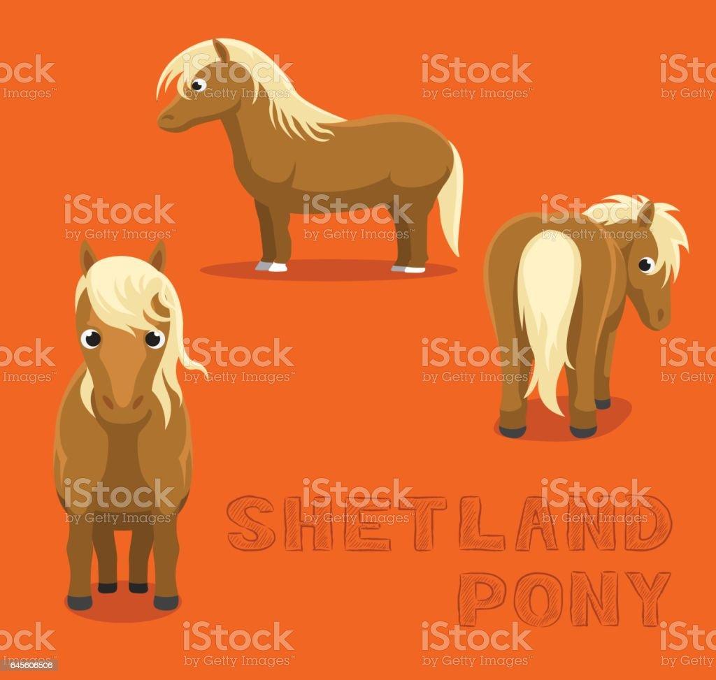 Horse Shetland Pony Cartoon Vector Illustration vector art illustration