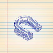 Horse shoe Magnet drawing on Lined paper