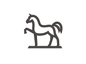 Horse sign template, linear style. Vector format, available for editing. Black and white version on white background.