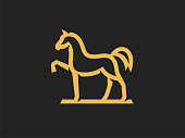 Horse sign template, linear style. Vector format, available for editing. Color version on a dark background.