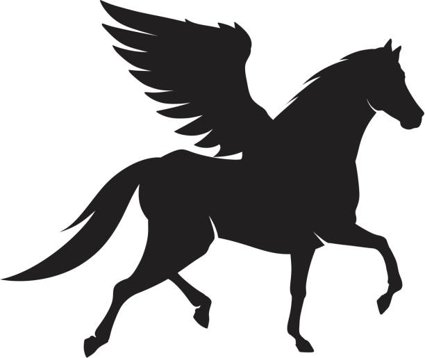 horse silhouette - pegasus stock illustrations