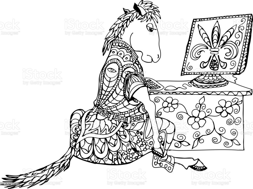 Horse sitting at the table with computer. Allegory hard work. vector art illustration