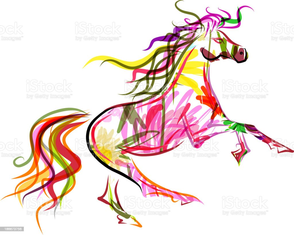 Horse sketch colorful for your design. Symbol of 2014 year vector art illustration