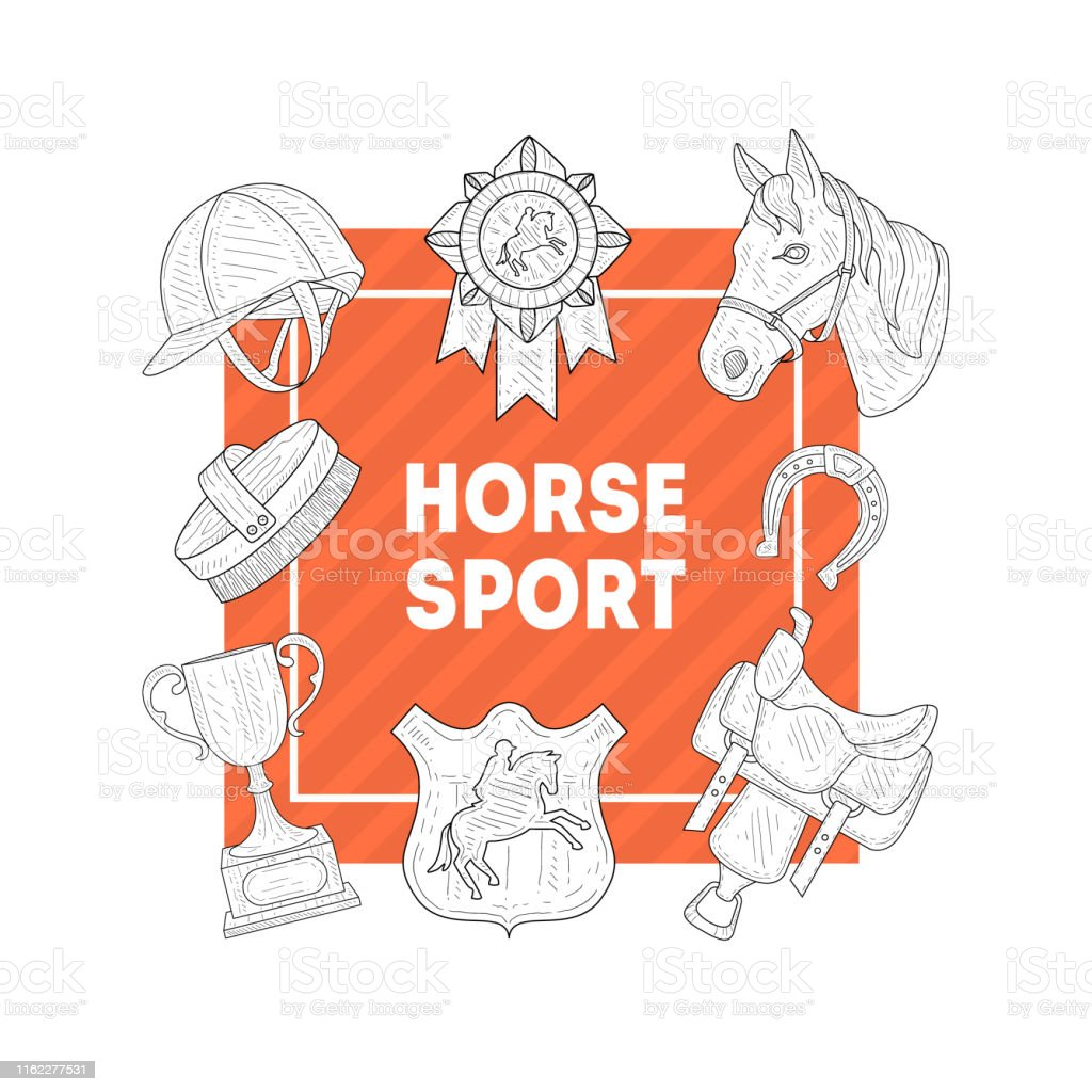 Horse Sport Banner Template with Horseback Equipment, Horse School,...