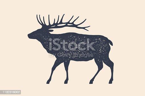 Elk, wild deer. Concept design of farm animals - Elk side view profile. Isolated black silhouette elk or wild deer on white background. Vintage retro print, poster, icon. Vector Illustration