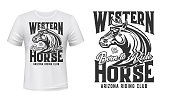 Horse stallion t-shirt print, riding sport club, equestrian polo racing, vector mockup. Wild horse stallion or mustang head with Born to Ride motto quote, Western Arizona equine riding club print