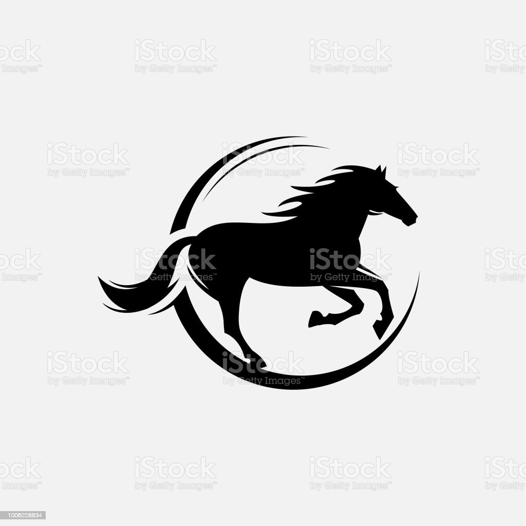 horse standing on three paws Icon vector art illustration