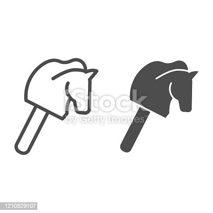 Horse stick children toy line and solid icon. Head of animal on stick silhouette symbol, outline style pictogram on white background. Multimedia sign for mobile concept or web design. Vector graphics