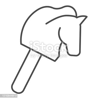 Horse stick children toy thin line icon. Head of animal on stick silhouette symbol, outline style pictogram on white background. Multimedia sign for mobile concept or web design. Vector graphics