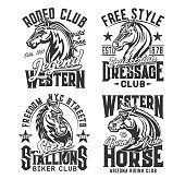 Horse t shirt prints, equestrian races and biker club vector emblem icons. Wild stallion and heraldic horse signs of Arizona horse riding, western rodeo and equine sport club quotes for t-shirt print