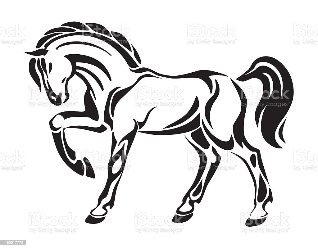 Horse tattoo stylized graphic vector drawing stock vector for Immagini cavalli stilizzati
