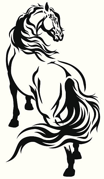 horse tattoo - clip art of a black and white barn stock illustrations, clip art, cartoons, & icons
