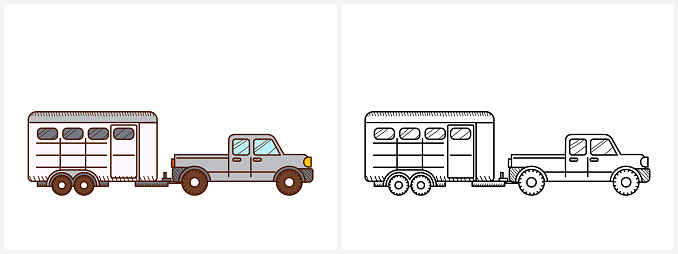 Horse trailer coloring book for kids. Horse trailer
