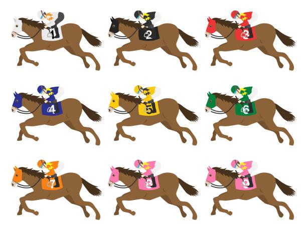 at - horse racing stock illustrations