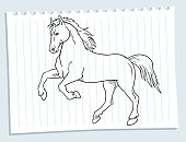 Black and white drawing of a horse on paper