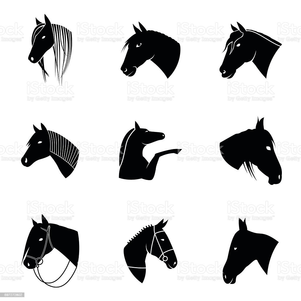 Horse vector set royalty-free horse vector set stock vector art & more images of abstract