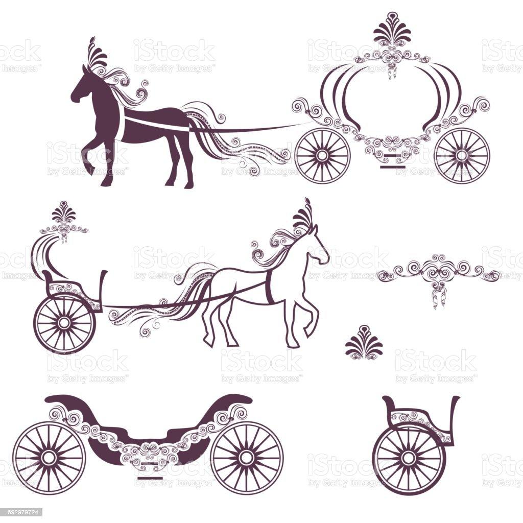 Pferd und Kutsche – Vektorgrafik