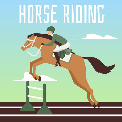 Horse with a jockey rider jumps over the barrier a vector flat illustration