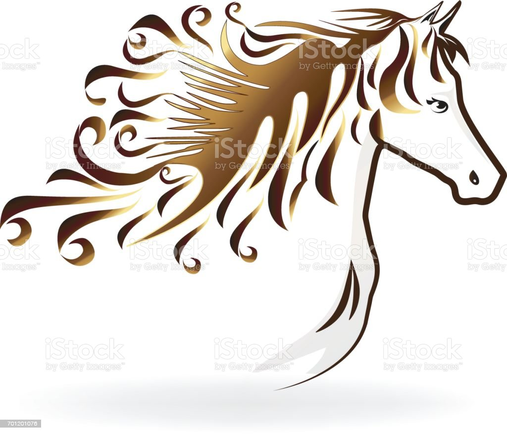 Horse with a swirly hair icon vector art illustration