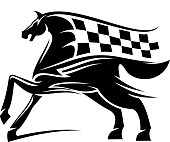 Horse with mane as checkered race flag symbol