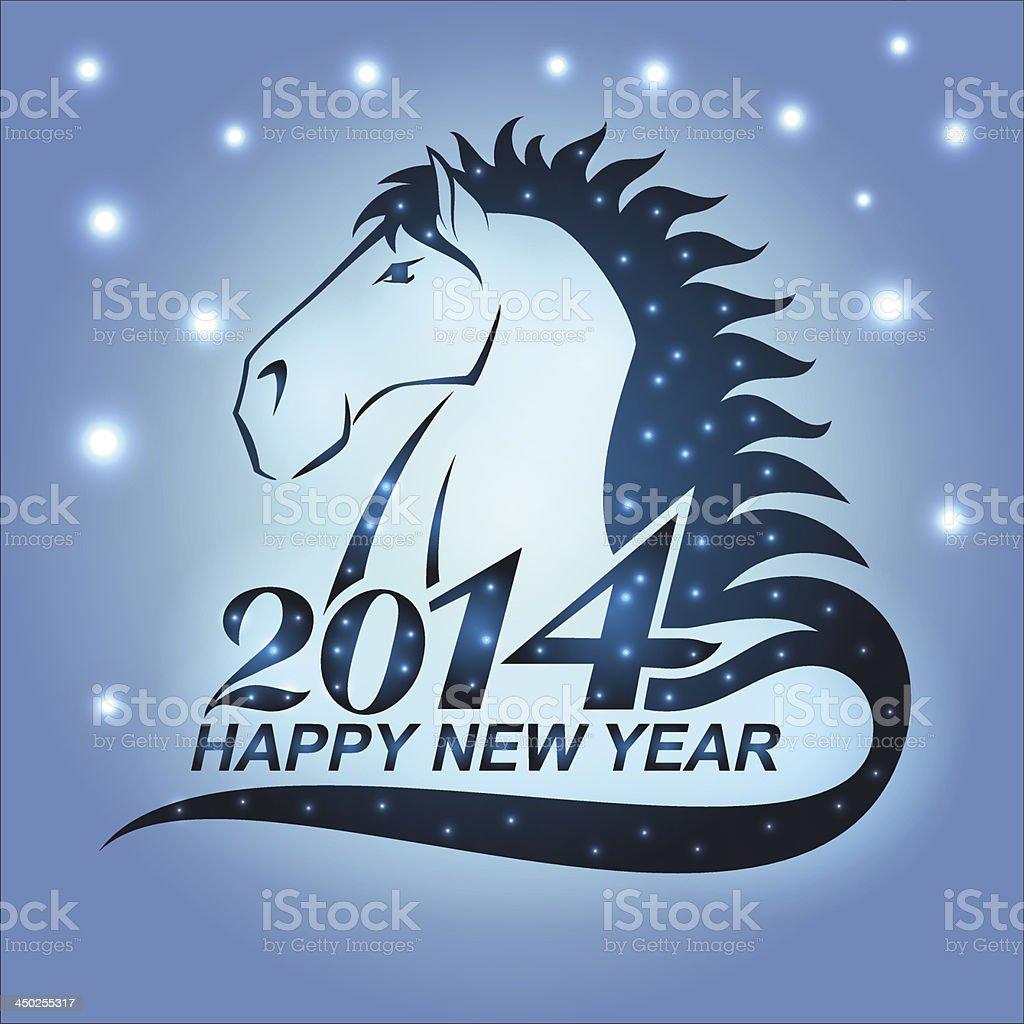 Cheval avec étoiles comme un symbole de 2014 cheval avec étoiles comme un symbole de 2014 vecteurs libres de droits et plus d'images vectorielles de 2014 libre de droits