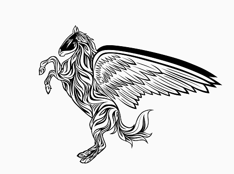 Horse with wings isolated pegasus. Vector mythical animal, stallion tattoo heraldic silhouette
