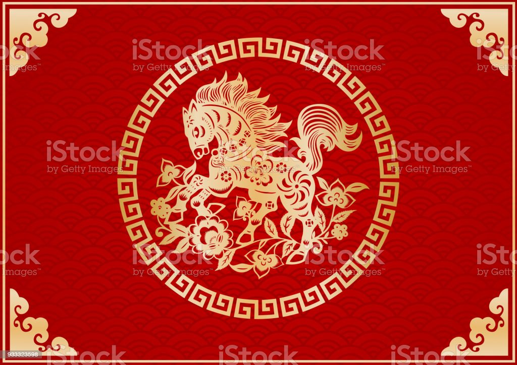 Horse, zodiac sign vector art illustration