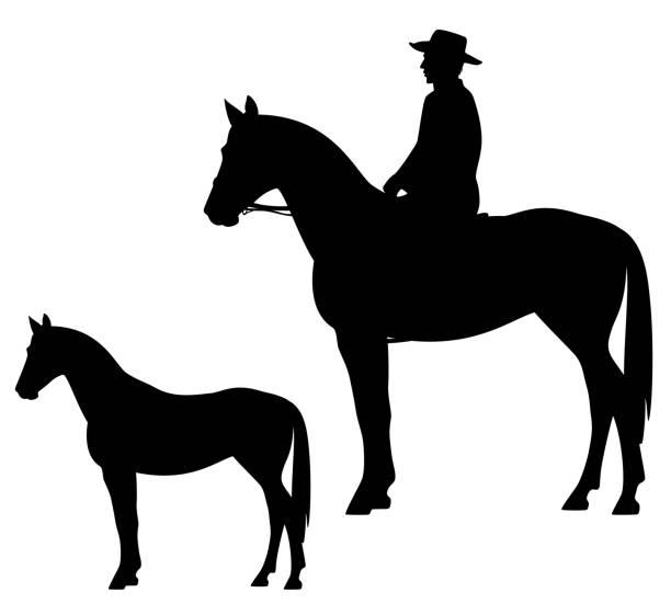 カウボーイの乗馬姿勢のベクトル シルエット - 乗馬点のイラスト素材/クリップアート素材/マンガ素材/アイコン素材