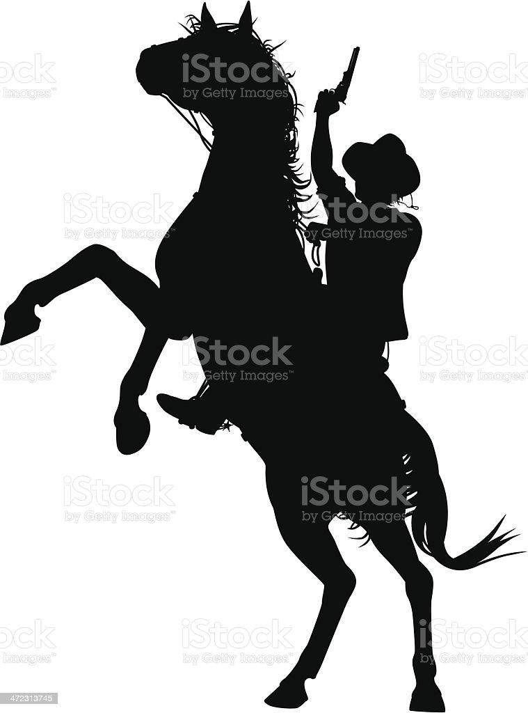 Horseback cowboy vector art illustration