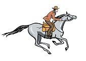 Horseback galloping rider.