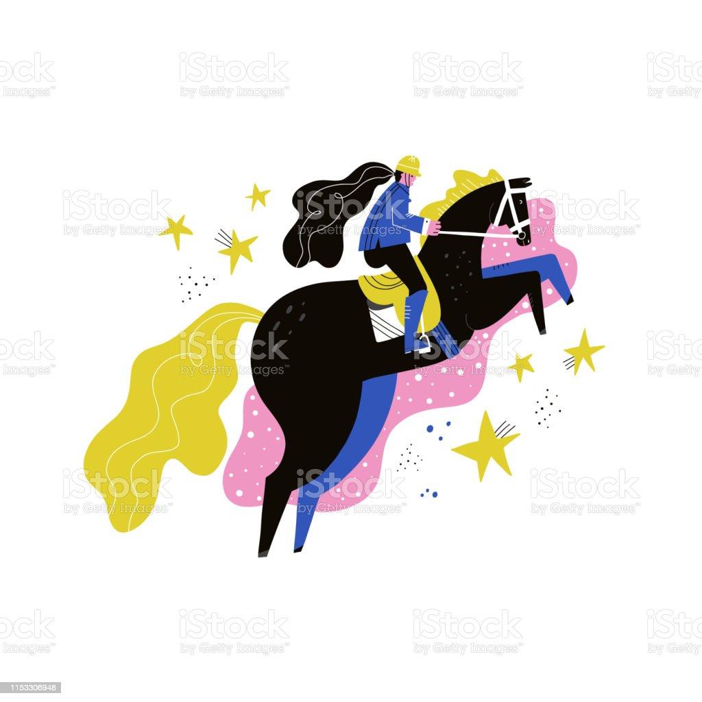 Horseback Riding Flat Hand Drawn Vector Illustration Stock Illustration Download Image Now Istock