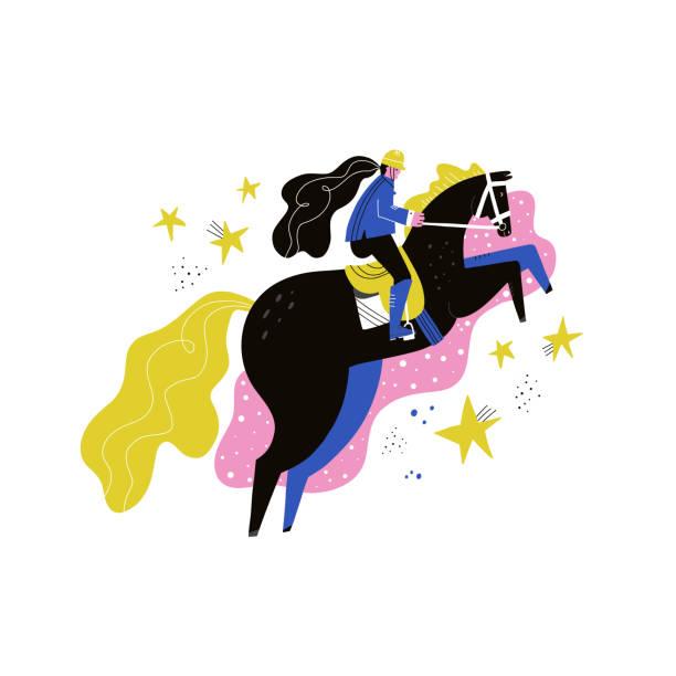 乗馬フラット手描かれたベクトルイラスト - 乗馬点のイラスト素材/クリップアート素材/マンガ素材/アイコン素材