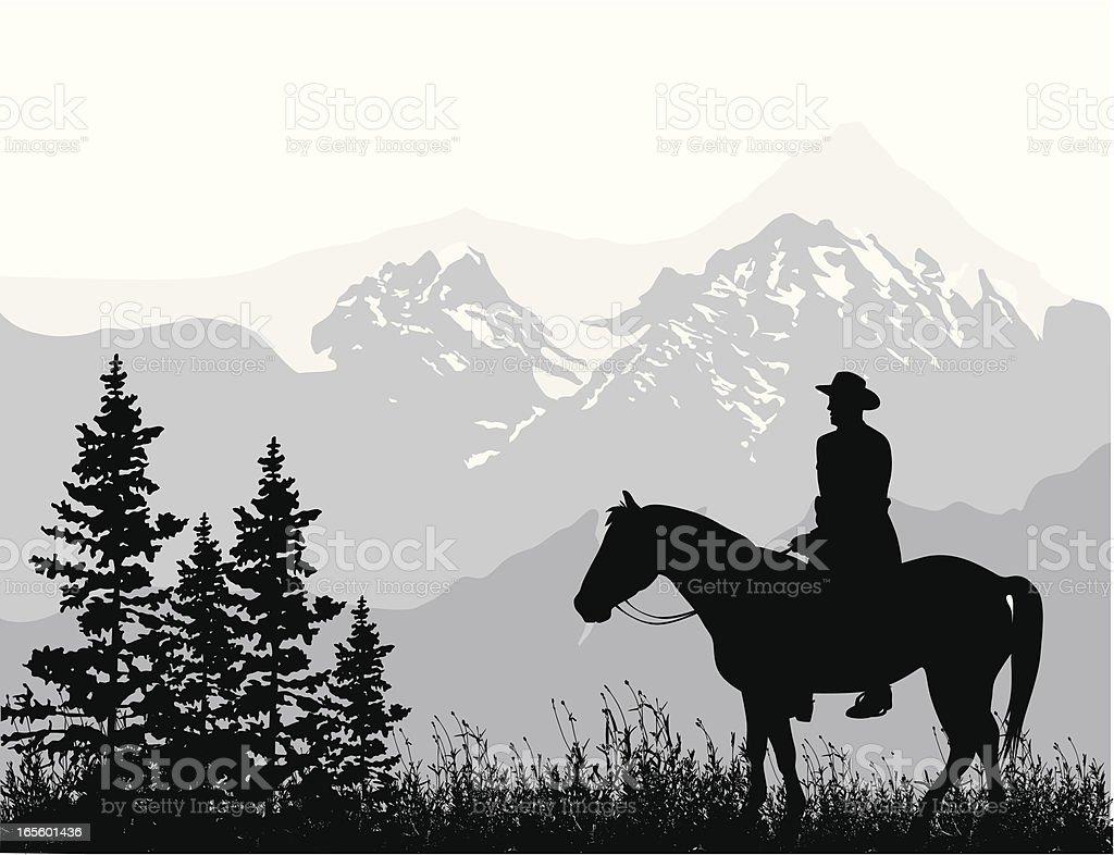 Horseback Riding Rockies Vector Silhouette royalty-free stock vector art