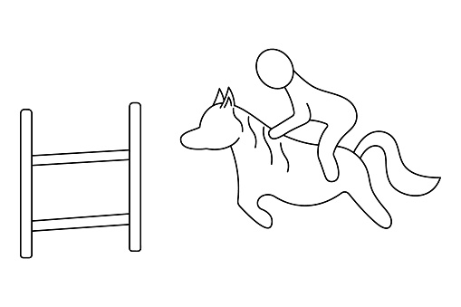Horseback Riding. Sketch. The rider overcomes the obstacle on horseback. Vector icon. The rider shows the direction of the kankur. Overcoming the distance for speed. Isolated white background.